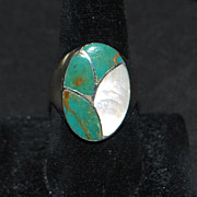 Man's Navajo Inlaid Turquoise and MOP Ring - Signed N Lee