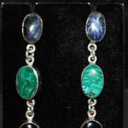 Pair of Large Multi-Stone Sterling Dangle Earrings - 1980's
