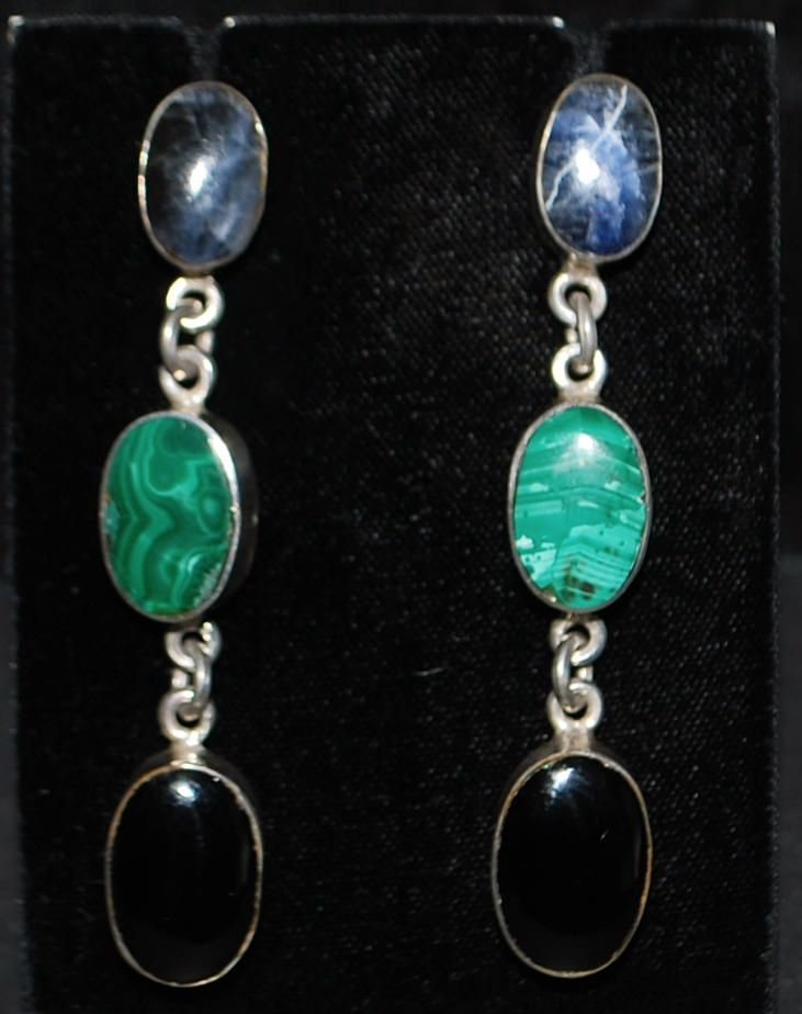 Pair of Mexican  Multi-Stone Sterling Dangle Earrings - 1980's