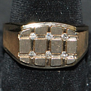 14K Heavy Man's Diamond Ring  - LeVian