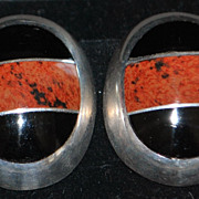 Pair of Sterling Red Agate and Black Onyx Earrings, 1980's