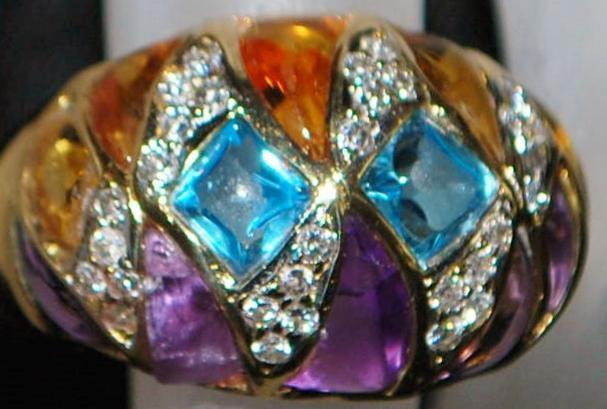 18K Heavy Multi- Colored Stone and Diamond Ring -,1980's