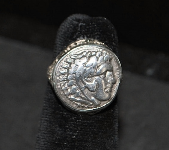 18K Alexander The Great Ancient Silver Coin Filigree Ring -1920's