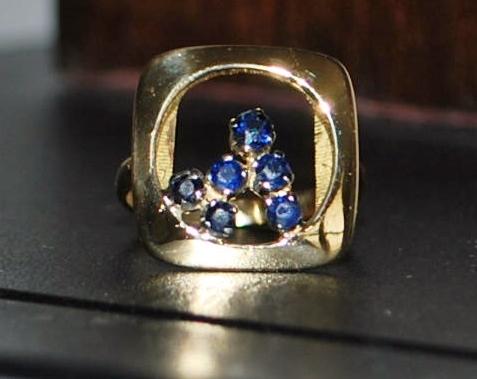 18K Italian Modernist Sapphire Ring - 1970's