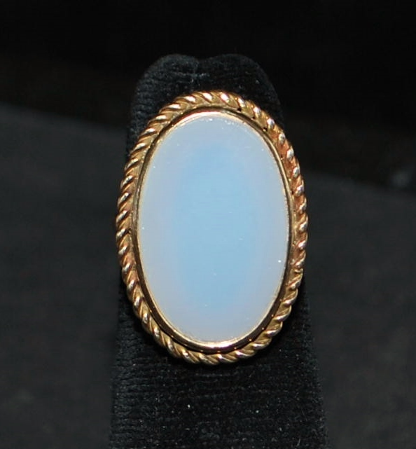 14K Lady's White Agate Signet Ring, 1920's