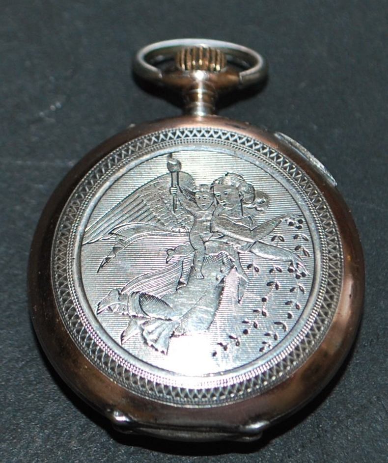 "Swiss 800 Silver ""Guardian Angel""  Lapel Watch - c.1890"