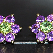 Pair of 14K Amethyst and Peridot Earrings - Red Tag Sale Item