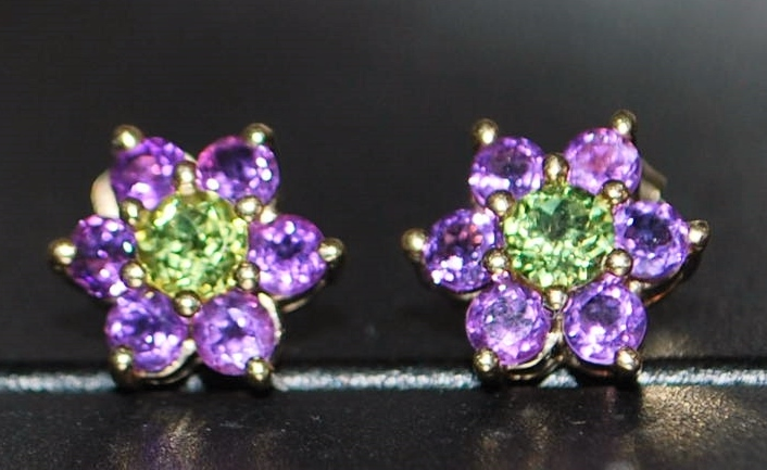 Pair Of 14k Amethyst And Peridot Earrings Antique World Usa Ruby Lane