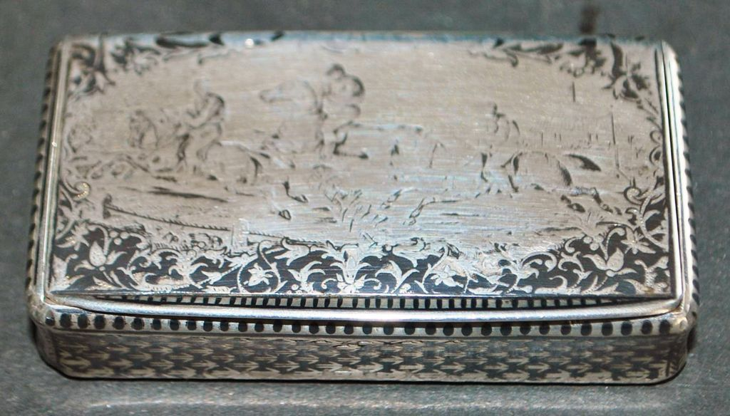 French Niello 950 Silver Snuff Box, c. 1850