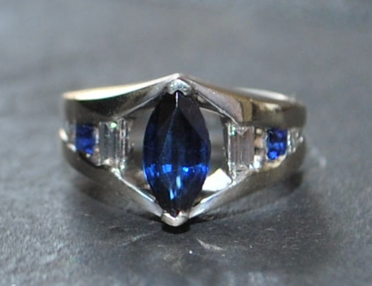 14K w/g Sapphire and Diamond Custom  Ring