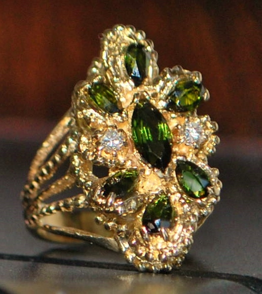 14K Large Peridot and Diamond Cocktail Ring - 1970's