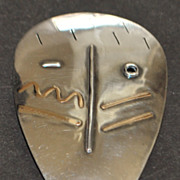 14K / Sterling  Custom Made Mask Brooch - 1990