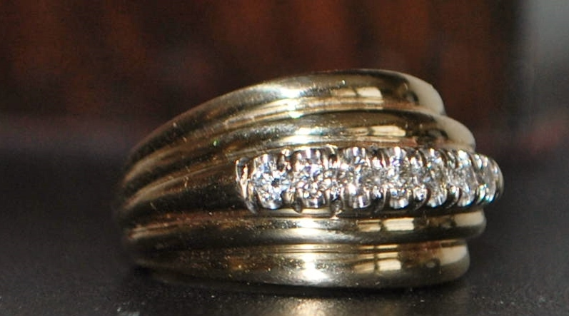 14K Gold and Diamond Stacking Style Ring -1980's
