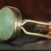 Pair of 14K Green Jade Cufflinks - 1960's