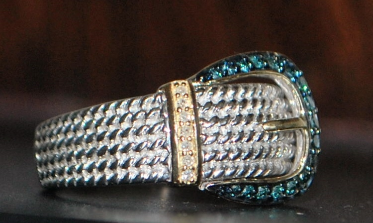 14K / Sterling Blue Diamond Buckle Ring - 1980's