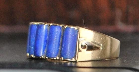 14k Natural Lapis Lazuli Ring, 1940's