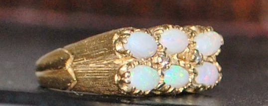 14K Opal and Diamond Florentine Ring - 1960's