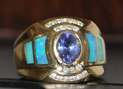 18K Tanzanite, Black Opal and Diamond Cocktail Ring