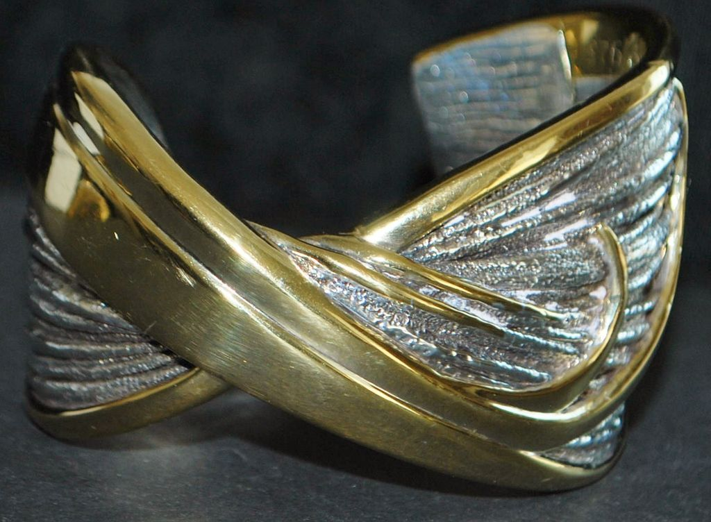Large Designer Sterling Silver Bangle Bracelet - 1980's