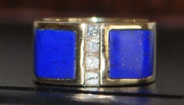 14k Custom Lapis and Diamond Ring