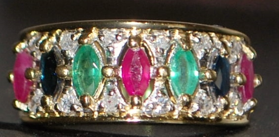 14K Multi-Colored Stone and Diamond Ring