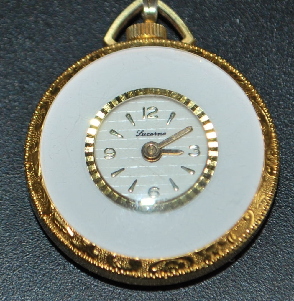 Swiss Lucerne White Enamel Pendant Watch - 1970's