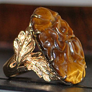 14K Large Carved Tiger's Eye Cocktail Ring - 1980's