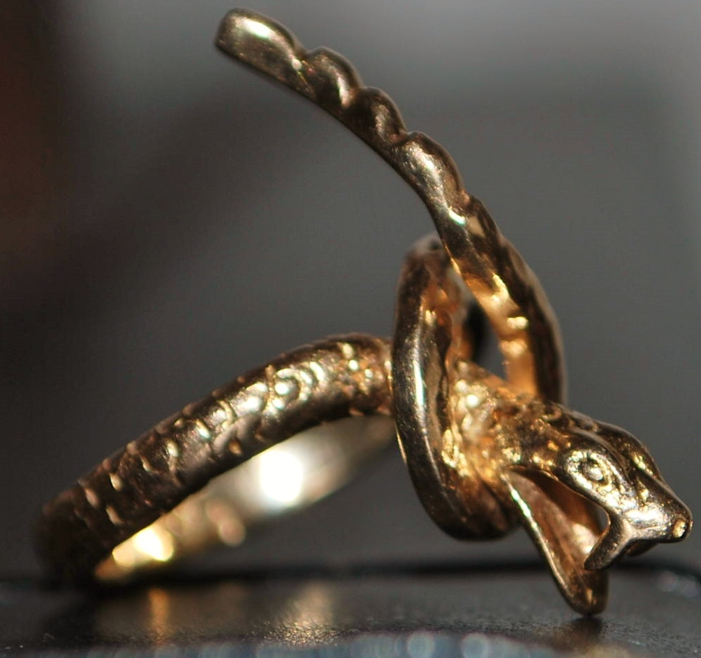 14K Large Custom Coiled Snake Ring - 1970's