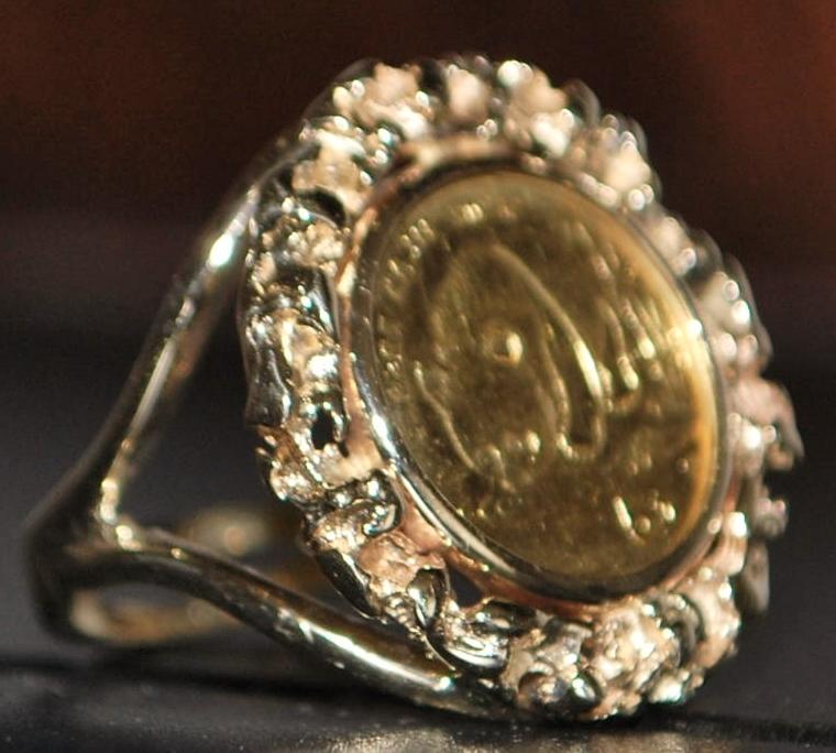 14K 1987 Panda Gold Coin Ring - 1987