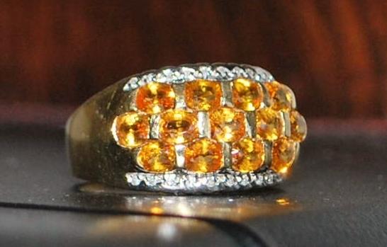 14K Madera Citrine and Diamond Ring