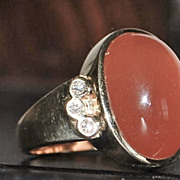 14K Man's Red Tourmaline and Diamond Signet Ring