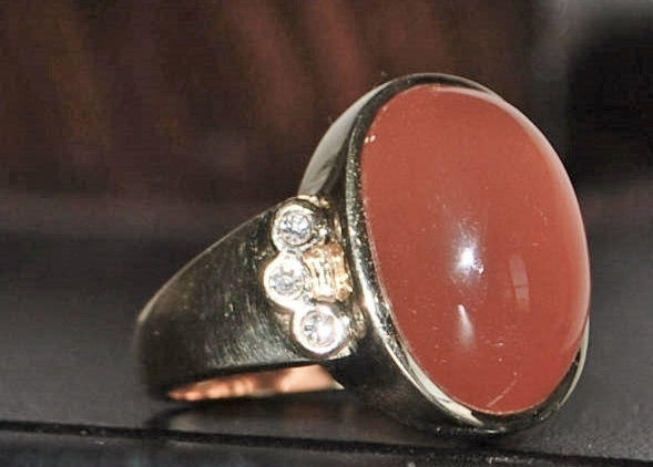 14K Red Tourmaline and Diamond Signet Ring -1980's