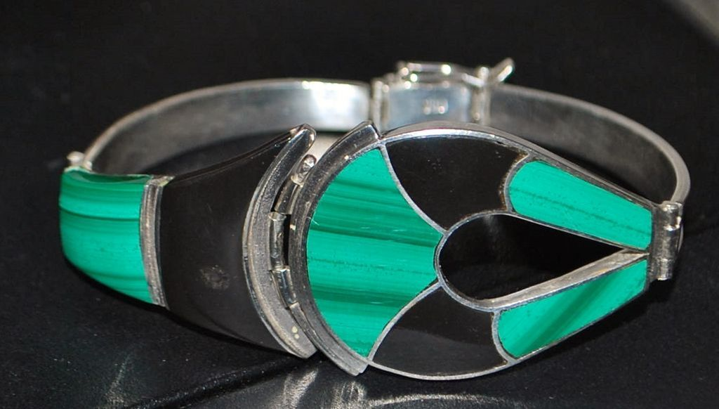 980 Silver Malachite and Onyx Bracelet - 1980's