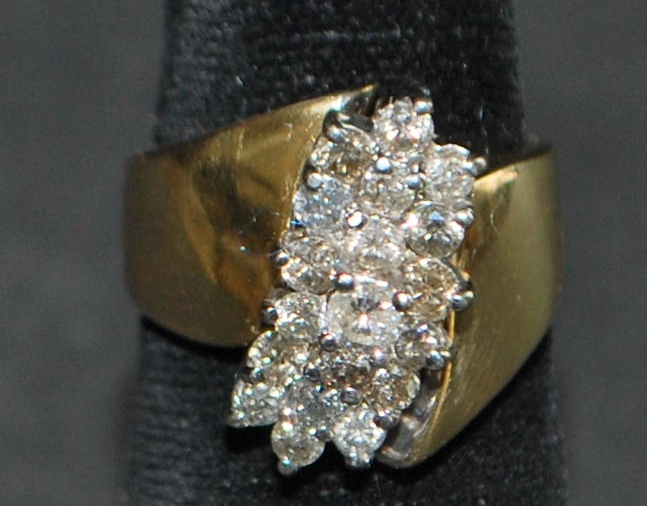 14K Diamond Cluster and Gold Ring - 1970's