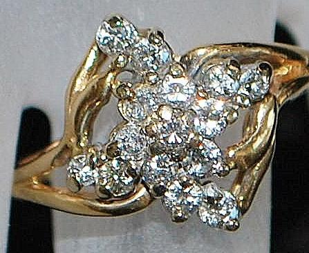 14KP Diamond Floral Cluster Ring, 1960's