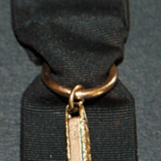 Victorian 10K Gold and Black Ribbon Watch Fob,c.1895