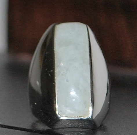 Sterling White Jade Cocktail Ring,c.1990