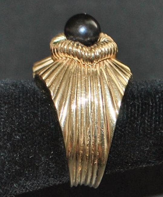 18K Retro Black Pearl Cocktail Ring - 1960's