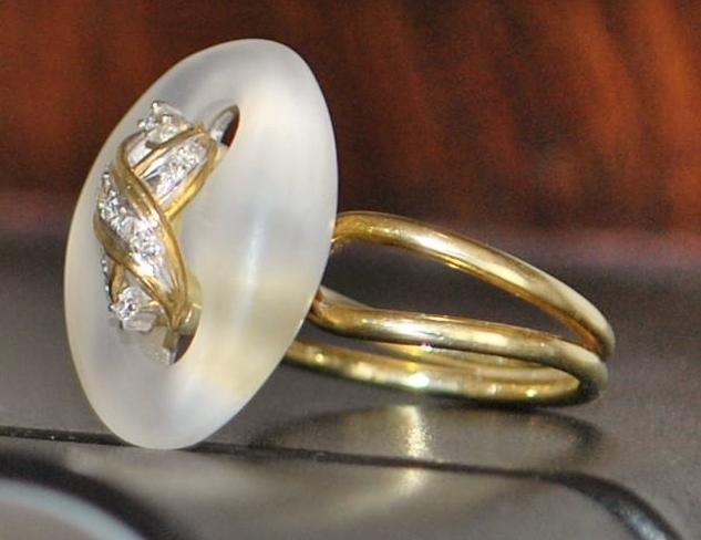 14K Designer Rock Crystal and Diamond Ring