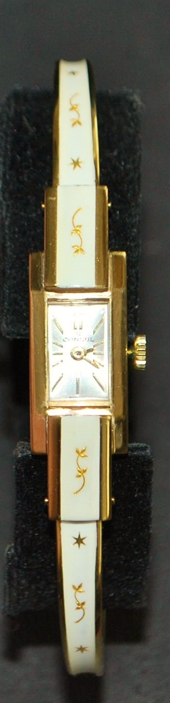 Swiss White Enamel and Gold Lady's Cuff Watch - 1970