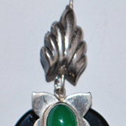 Pair of Sterling Onyx Chrysoprase Earrings - 1980's