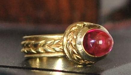 14K Etruscan Style Pink Tourmaline Ring - 1980's