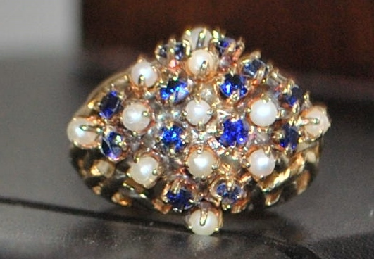 14K  Sapphire and Seed Pearl  Ring- 1960