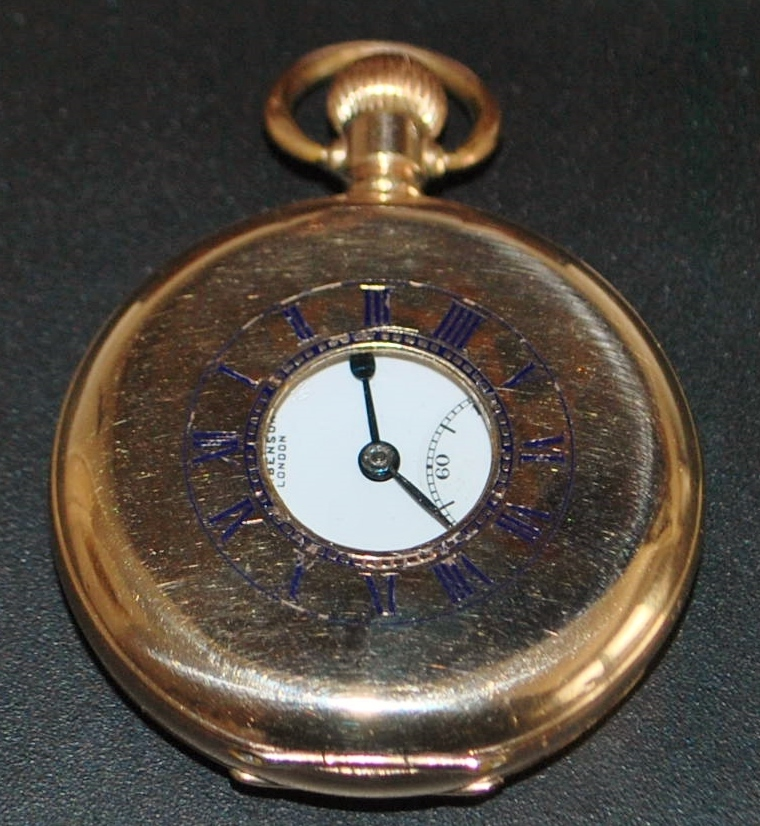 J. W. Benson London Half Hunter Pocket Watch,1920's