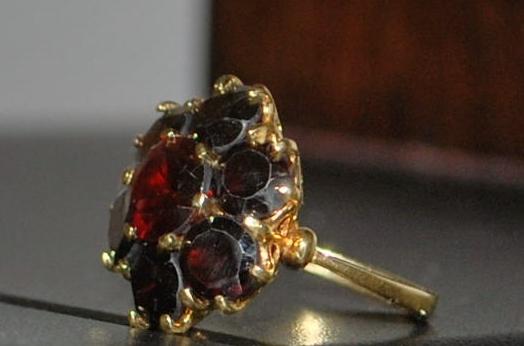 18K Red Garnet Cluster Ring - 1920's