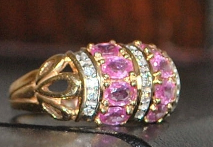 14K Pink Sapphire and Diamond Dome Ring - 1980's