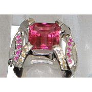 14K w/g Large Pink Tourmaline and Diamond Ring -1980