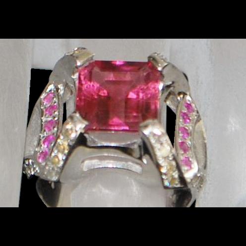 14K w/g Large Pink Tourmaline and Diamond Ring -1980