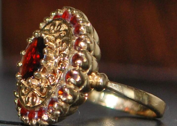 14k Etruscan Style Garnet Dinner Ring - 1920's
