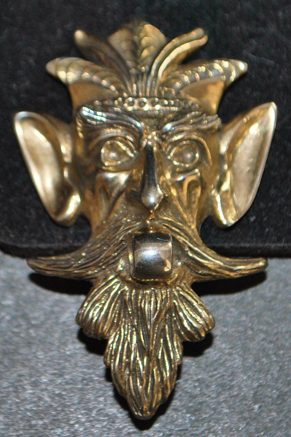 Pair of Les Bernard Large Mask  Earrings - 1980's
